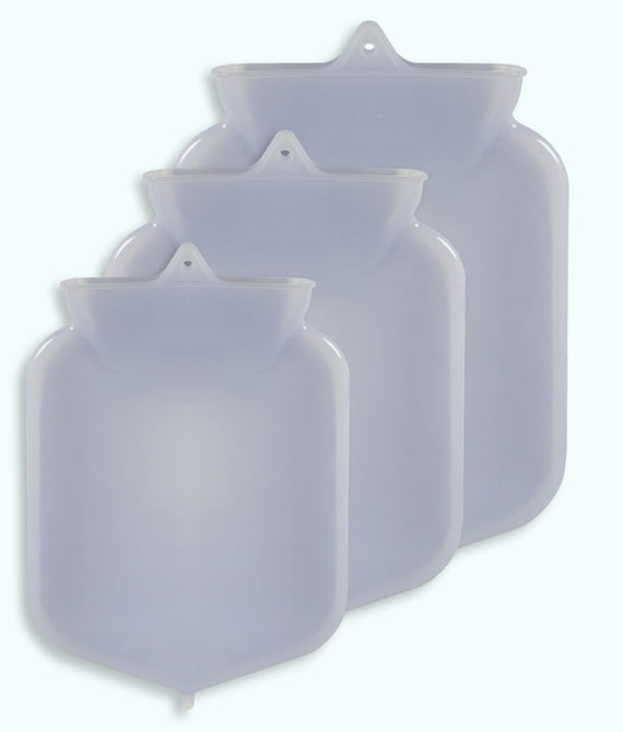 photo of 2-quart, 3-quart, and 5-quart silicone enema bags