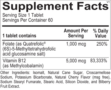 Methyl B12 ingredients